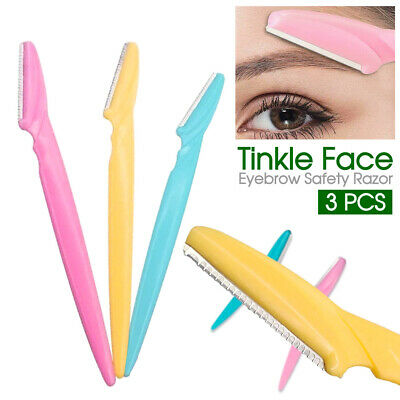 3Pcs Women Tinkle Face Eyebrow Hair Removal Safety Razor Trimmer Shaper Shaver