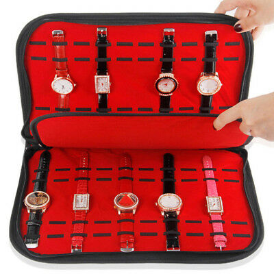 20 Slots/Grids Watch Case with Zipper Velvet Wristwatch Display Storage Box`qTTS