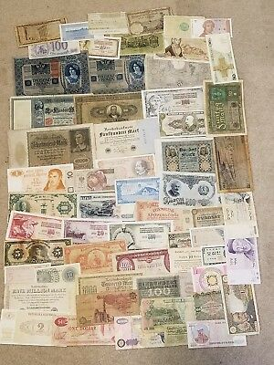 WORLD PAPER CURRENCY Old Foreign Paper Money Lot - About 50