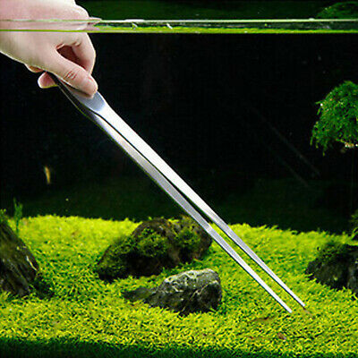 27CM Stainless Steel Tweezers Aquarium Live Tank Curve Plant Long Tongs Scissor