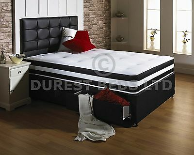 Black Air Memory Foam Bed Divan Mattress  Headboard 6Ft 5Ft King 4Ft6 Double 3Ft