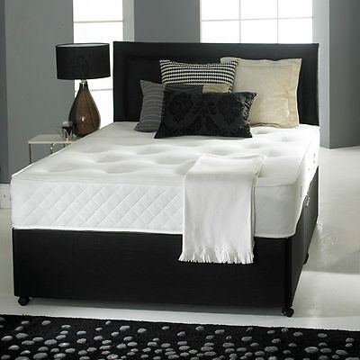 3FT 4FT6 Double 5FT King BLACK LEATHER DIVAN BED MEMORYFOAM MATTRESS  HEADBOARD