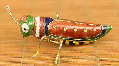 Ancient art chinese old Cloisonne Hand Carved locust Statue pendant decoration