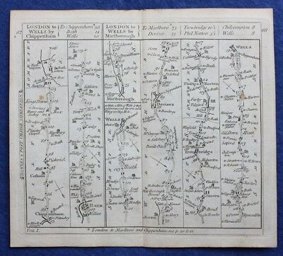 Original antique road map WILTSHIRE SOMERSET, BATH, DEVIZES, Bowles c.1792