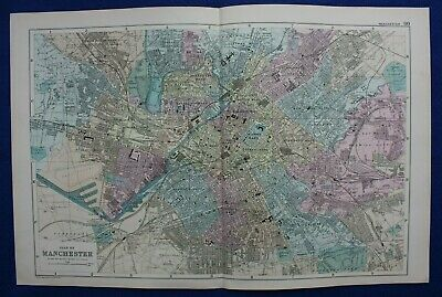 PLAN OF MANCHESTER, original antique atlas map / city plan, George Bacon, 1895