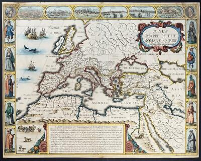 1626 Outstanding Original Antique Map - THE ROMAN EMPIRE by JOHN SPEED 1st ISSUE