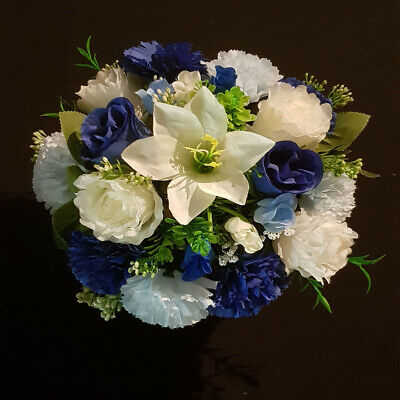 Luxury Blue and White Artificial Flower Grave Pot  Memorial Cemetery/ Vase