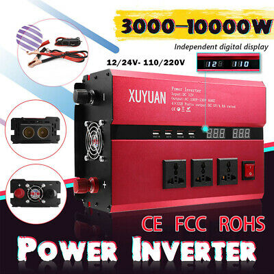 3000W-10000W DC 12/24V To 110/220V Car Power Inverter USB Sine Wave Converter