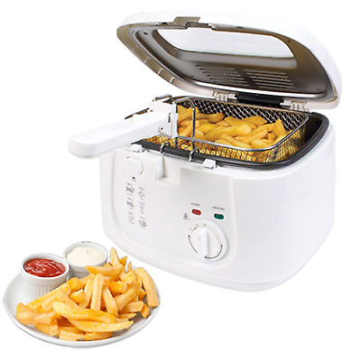 White 2.5L Electric Deep Fat Chip Fryer Non Stick Pan & Safe Basket Handle With