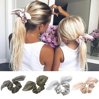 Women Girls Elastic Hair Ties Band Rope Ring Scrunchie Bow-Knot Ponytail Holder