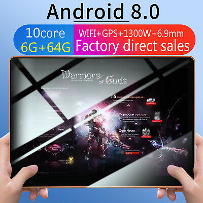 10.1 Inch 6GB+64GB HD WiFi Tablet PC Android 8.0 Ten Core 3G Phablet Dual Camera