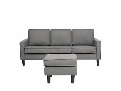 Mid-Century Transitional 3 Seater Light Grey Fabric Sofa with Ottoman Avesta