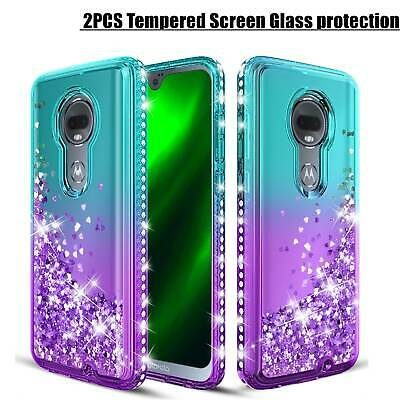 Moto G7/G7 Play/G7 Power Glitter Diamond Case+2PCS Tempered Glass Screen