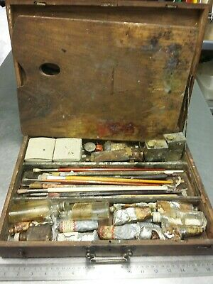 Antique Vintage Rare Wooden Winsor Newton Pocharde Artist Paint Box