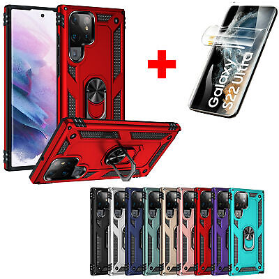 For Samsung Galaxy Note 10 9 S10 Plus Shockproof Armor Ring Kickstand Case Cover