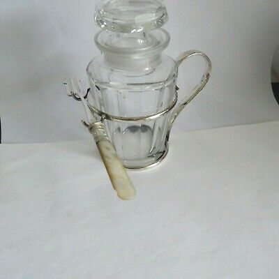 Vintage Silver Plate Cut Glass Pickle Jar Complete With Pearl Handle Pickle Fork