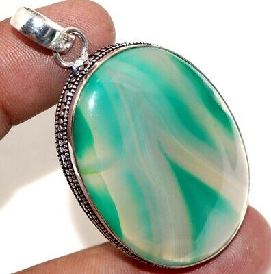 """D22050 Botswana Agate 925 Sterling Silver Plated Pendant 2.1"""""""