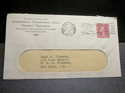USS ARIZONA BB-39 Naval Cover 1927 w/ invoice PEARL HARBOR SHIP SUNK WWII