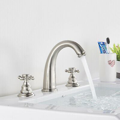 Widespread Bathroom Sink Faucet LED 3 Holes  Basin Mixer Tap Brushed Nickel