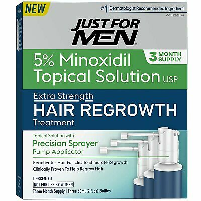 Just for Men Hair Loss Regrowth Treatment 5 % Minoxidil Extra Strength, 1 Pack