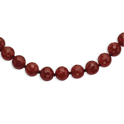 """10-10.5mm Faceted Carnelian Necklace 18"""""""