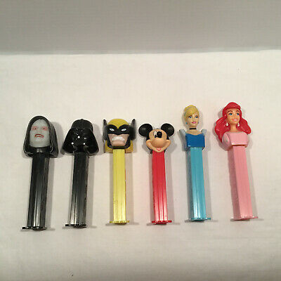 6x Pez Dispensers Disney Star Wars Mickey Cinderella Ariel Darth Vader Emperor
