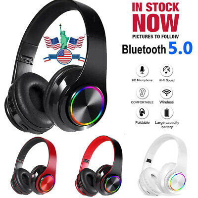 Wireless Bluetooth Headphones Earphones Stereo Noise Cancelling Headset With Mic