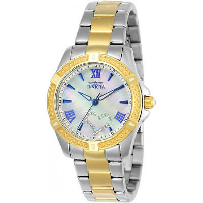 Invicta Women's Watch Angel Crystal White Oyster Dial Two Tone Bracelet 23656