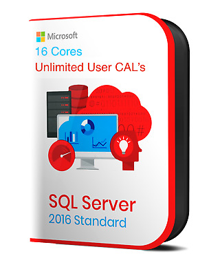 MS SQL Server 2016 Standard Product Key | 16 Cores | - Instant Delivery