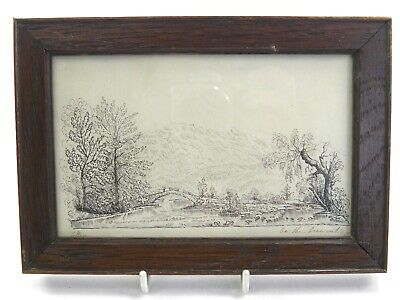 Antique 19th century English pen & ink drawing river landscape On The Derwent