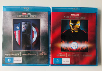 IRON MAN Captain America Blu-ray The Complete Marvel 1 2 3 Movie Collection Lot