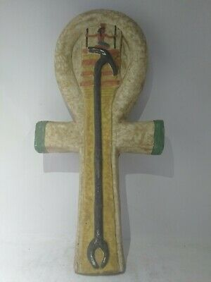 RARE ANTIQUE ANCIENT EGYPTIAN Ankh Key of Life Sitting Pharaoh Stone 1450 Bc