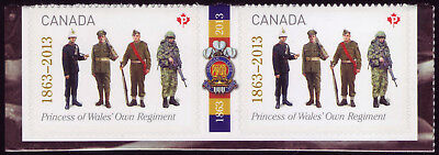 """CANADA 2013 booklet gutter pair, #2635 """"P"""" Princess of Wales' Own Regiment MNH"""