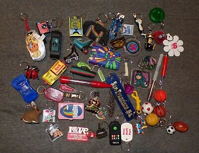 Lot of 50 Retro 80's & 90's Keychains Cards, Cameras, Skates, Roger Rabbit, Cars
