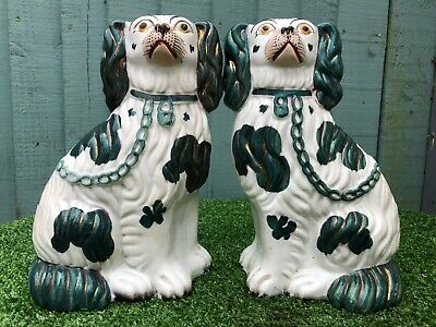 SUPERB PAIR 19thC STAFFORDSHIRE SEATED GREEN & WHITE LUSTRE SPANIEL DOGS c1880s