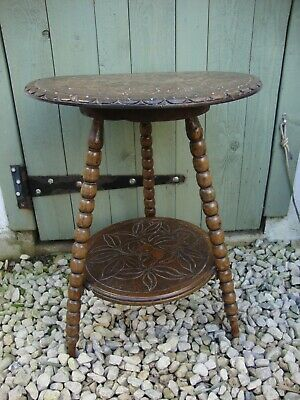 Antique,Small,Carved,Tripod Table,With Bobbin Turned Legs.