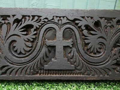SUPERB 19thC GOTHIC WOODEN PANEL WITH RELIEF CARVED CROSS CENTRALLY c1880s