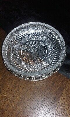 Vintage Cut Glass and Silver Plate Snack Dish 15cm 445g Nice Condition