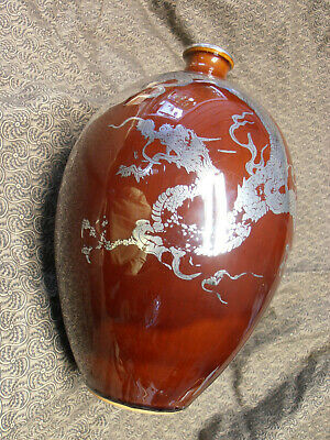 Striking - Antique Asian Pottery Vase With Sterling Silver (Dragon) Overlay.