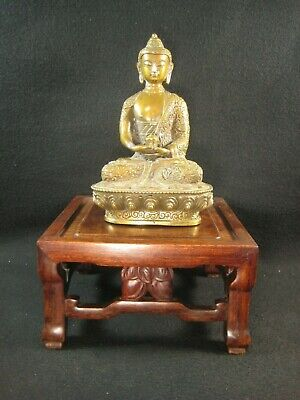 VINTAGE CHINESE c. 1950 HAND CARVED ROSEWOOD BONSAI STAND DOUBLE PEACH
