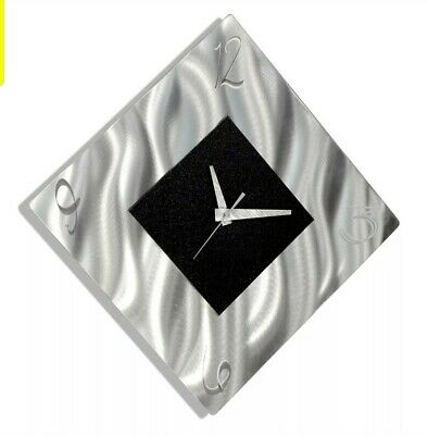 Metal Wall Clock Sculpture Hanging Art Modern Silver Black Decor Jon Allen
