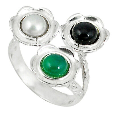 Liquidation Sale natural green chalcedony onyx pearl silver ring size 6.5 d5956