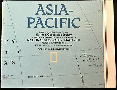 "Collectible 1989 National Geographic ""Asia-Pacific"" map (19 5/8"" x 25"")"