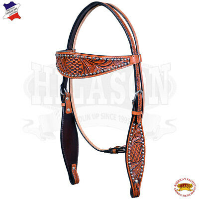 Western Headstall Horse Tack Bridle American Leather Antique Mahogany U-3-HS