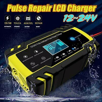 12/24V 8A Touch Screen Smart Pulse Repair LCD Battery Charger Car Motorcycle New