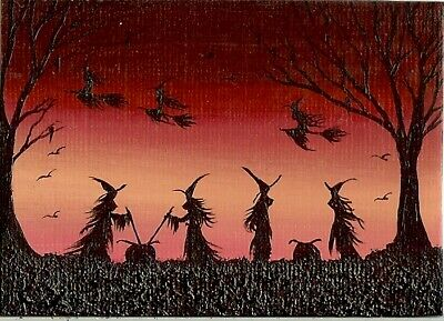 ACEO ORIGINAL Fantasy Witches Halloween Fun Whimsical Art Painting ATC HYMES