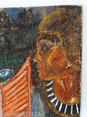 EGYPTIAN OIL PAINTING old PIERCING STRANGE EYES canvas TEXTURED crackly