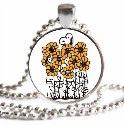 Vintage SNOOPY Sunflower Necklace Sterling Silver Plated Jewelry Charm Pendant