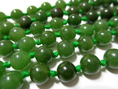 GORGEOUS Vtg GREEN NEPHRITE JADE 8mm Round Gemstone Bead CONTINUOUS NECKLACE 30""