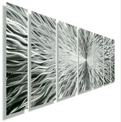 Large Silver Metal Wall Art Etched Sculpture Modern Abstract Decor Jon Allen
